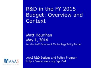 R&D  in the FY  2015 Budget: Overview and Context