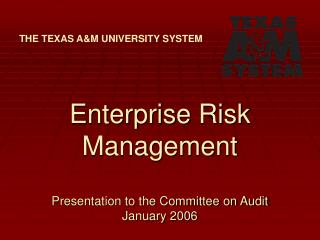 Enterprise Risk Management