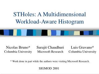 STHoles: A Multidimensional Workload-Aware Histogram