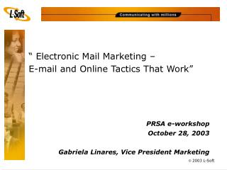 """ Electronic Mail Marketing –  E-mail and Online Tactics That Work"""