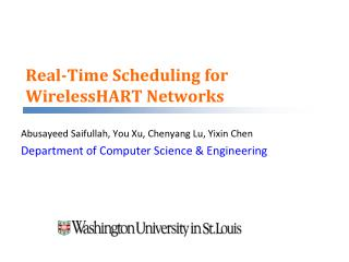 Real-Time Scheduling for WirelessHART Networks