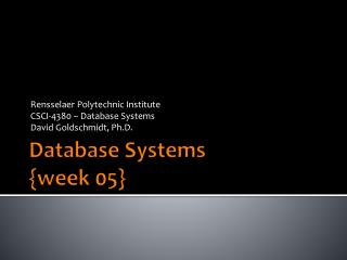 Database Systems {week  05}
