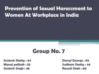 Prevention of Sexual Harassment to Women At Workplace in India