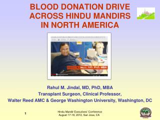 BLOOD DONATION DRIVE  ACROSS HINDU MANDIRS  IN NORTH AMERICA