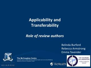 Applicability and Transferability Role of review authors