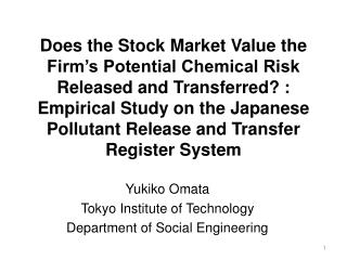 Yukiko  Omata Tokyo Institute of Technology Department of Social Engineering