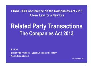 Related Party  Transactions The Companies  Act 2013