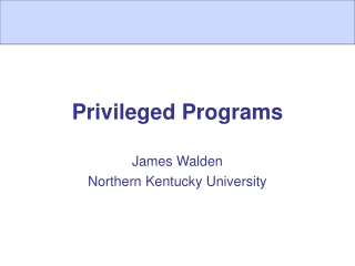 Privileged Programs