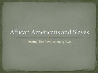 African Americans and Slaves