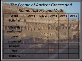 The People of Ancient Greece and Rome: History and Myth