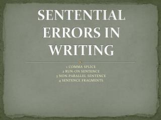 SENTENTIAL ERRORS IN WRITING