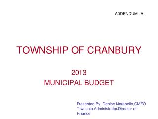 TOWNSHIP OF CRANBURY