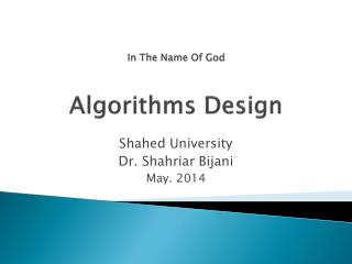 In The Name Of God Algorithms Design