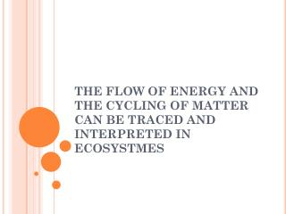THE FLOW OF ENERGY AND THE CYCLING OF MATTER CAN BE TRACED AND INTERPRETED IN ECOSYSTMES