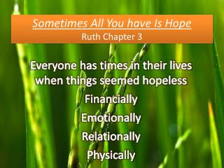 Sometimes All You have Is Hope Ruth Chapter 3
