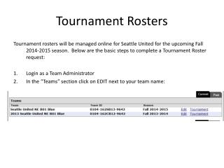 Tournament Rosters
