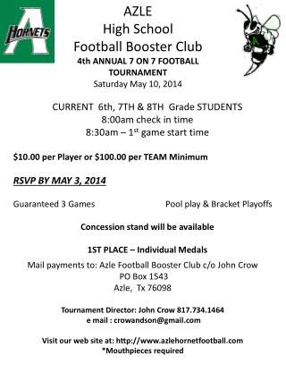 AZLE High School Football Booster Club 4th ANNUAL 7 ON 7 FOOTBALL TOURNAMENT