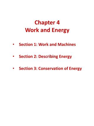 Chapter 4 Work and Energy