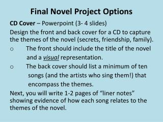 Final Novel Project Options
