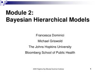Module 2:  Bayesian Hierarchical Models