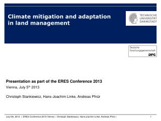 Climate mitigation and adaptation in land management