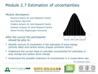 Module 2.7 Estimation of uncertainties