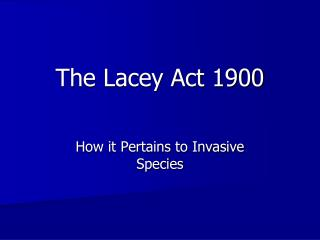 The Lacey Act 1900