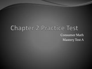 Chapter 2 Practice Test