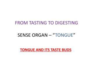 "FROM TASTING TO DIGESTING  SENSE  ORGAN – "" TONGUE """