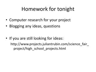 Homework for tonight