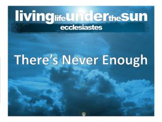 living life under the sun ecclesiastes