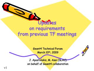 Updates on requirements  from previous TF meetings