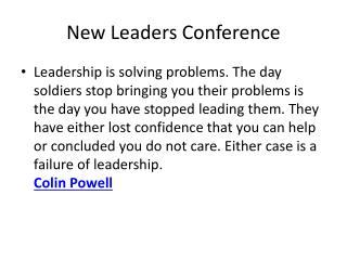 New Leaders Conference