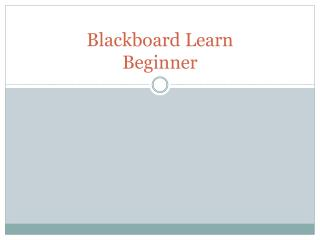 Blackboard Learn Beginner