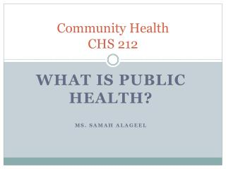 Community Health  CHS 212