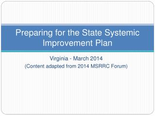 Preparing for the State Systemic Improvement Plan
