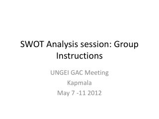 SWOT Analysis session: Group Instructions