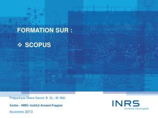 FORMATION SUR : SCOPUS