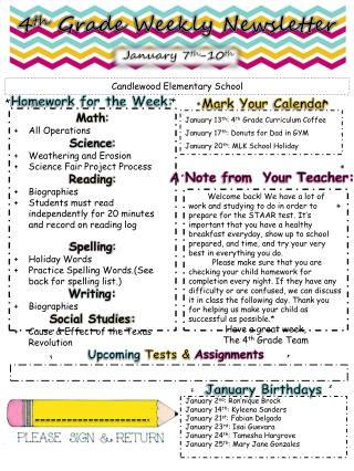 4 th  Grade Weekly Newsletter
