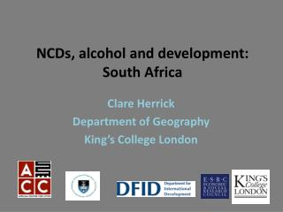 NCDs, alcohol and development:  South Africa