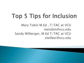 Top 5 Tips for Inclusion