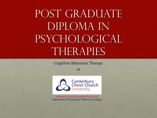 Post Graduate Diploma in Psychological Therapies