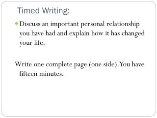 Timed Writing: