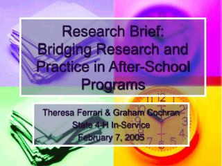Research Brief: Bridging Research and Practice in After-School Programs