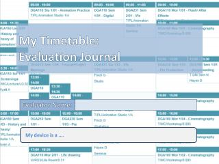 My Timetable: Evaluation Journal