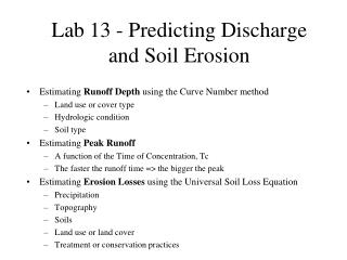 Lab 13 - Predicting Discharge and Soil Erosion