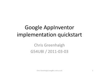 Google  AppInventor  implementation  quickstart