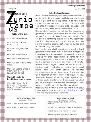 Reading Newsletter March  2014