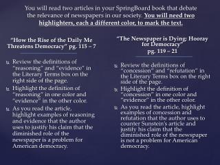 """""""How the Rise of the Daily Me Threatens Democracy"""" pg. 115 – 7"""