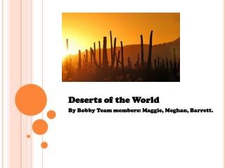 Deserts of the World By Bobby Team members: Maggie, Meghan, Barrett.